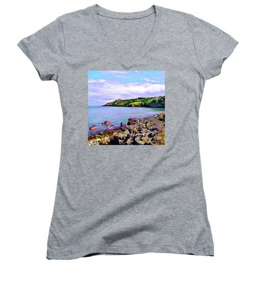 Looking Across Women's V-Neck T-Shirt (Junior Cut) by Judi Bagwell