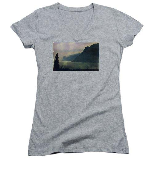 Looking At The Lake... Women's V-Neck T-Shirt (Junior Cut) by Vittorio Chiampan