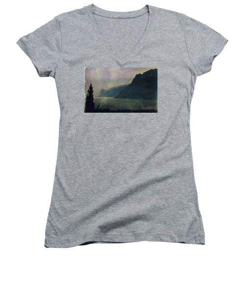 Looking At The Lake... Women's V-Neck (Athletic Fit)