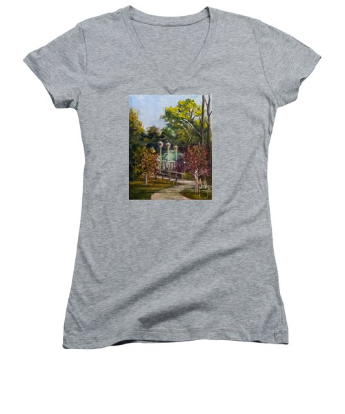 Women's V-Neck T-Shirt (Junior Cut) featuring the painting Looking Back At The Vietnam Memorial by Jim Phillips