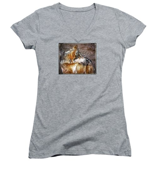Women's V-Neck T-Shirt (Junior Cut) featuring the mixed media Looking Back by Elaine Malott