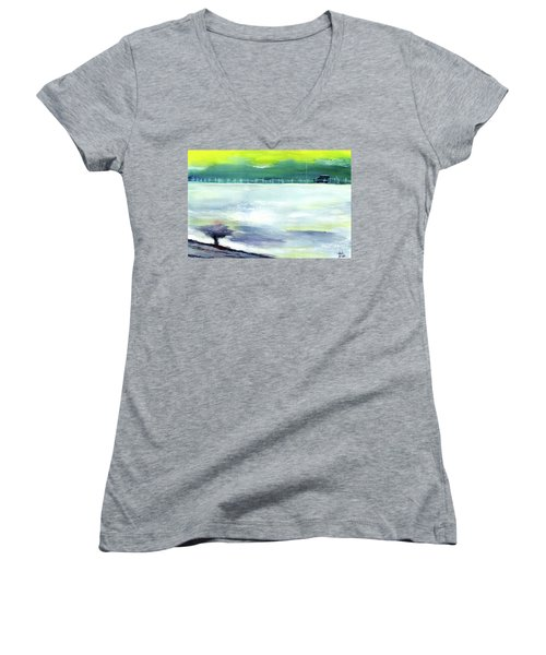 Women's V-Neck T-Shirt (Junior Cut) featuring the painting Looking Beyond by Anil Nene