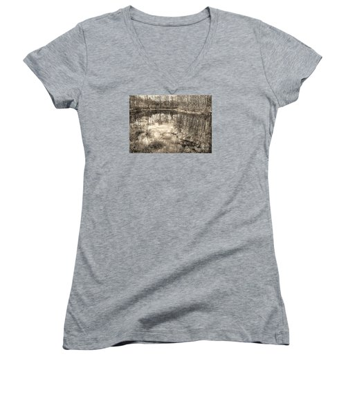 Looking Down Women's V-Neck T-Shirt (Junior Cut) by Betsy Zimmerli