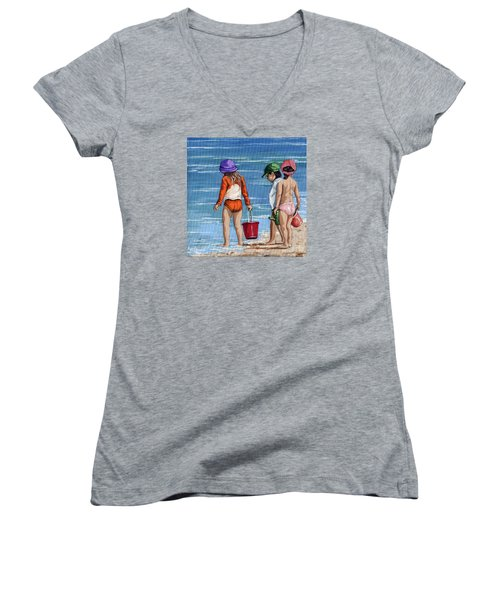 Looking For Seashells Children On The Beach Figurative Original Painting Women's V-Neck T-Shirt (Junior Cut) by Linda Apple