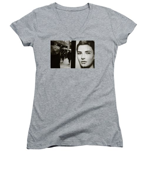 Women's V-Neck T-Shirt (Junior Cut) featuring the photograph Looking For Your Eyes by Empty Wall
