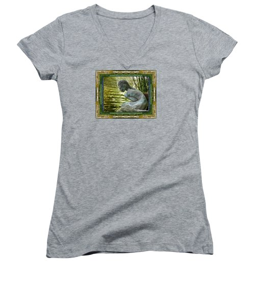 Women's V-Neck T-Shirt (Junior Cut) featuring the photograph Looking In by Bell And Todd