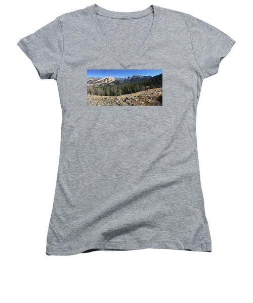 Looking Into The Bridger Wild Lands Women's V-Neck (Athletic Fit)