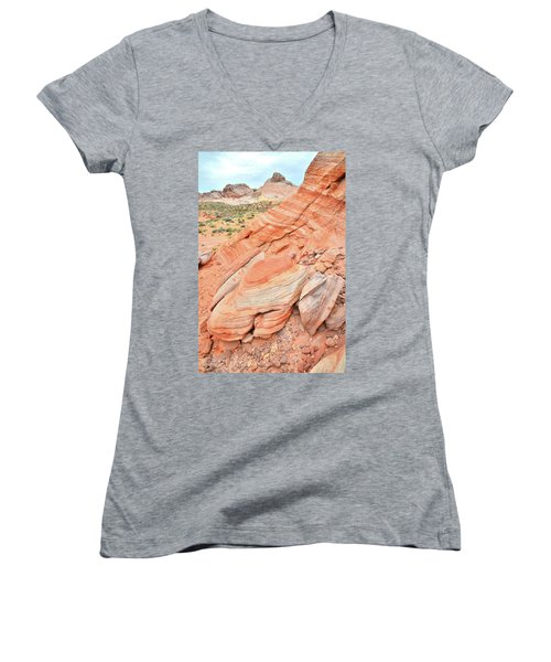 Women's V-Neck T-Shirt (Junior Cut) featuring the photograph Looking South In Valley Of Fire by Ray Mathis