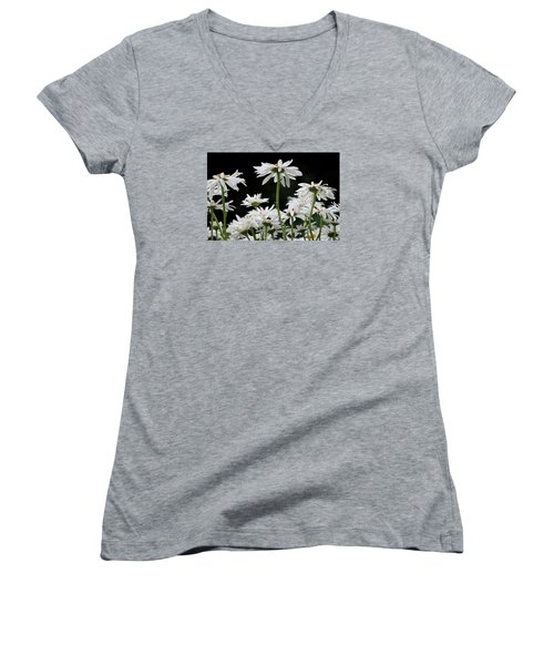 Looking Up At At Daisies Women's V-Neck T-Shirt (Junior Cut) by Dorothy Cunningham