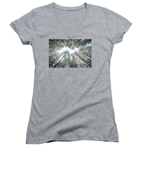 Women's V-Neck T-Shirt (Junior Cut) featuring the photograph Looking Up In The Forest by Hannes Cmarits