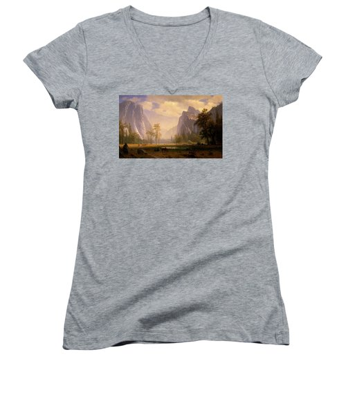 Looking Up The Yosemite Valley  Women's V-Neck