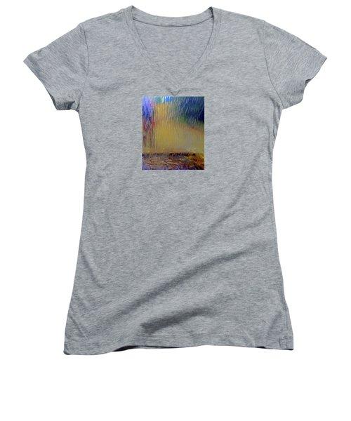 Women's V-Neck T-Shirt featuring the photograph Looks Like Rain by Nareeta Martin