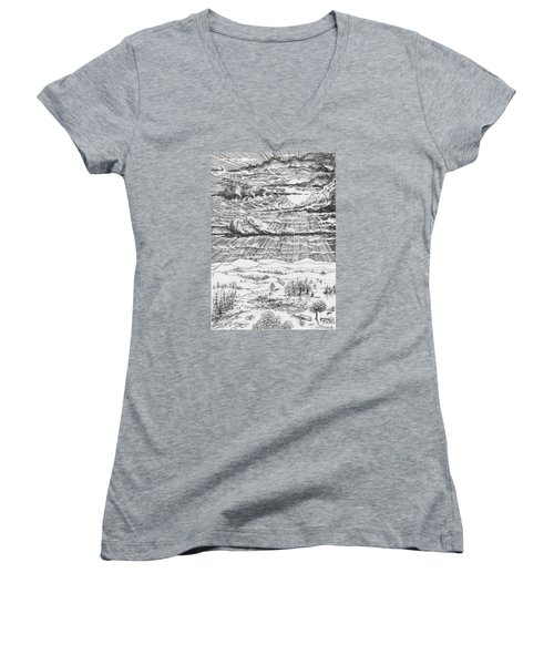 Looming Snowstorm Women's V-Neck T-Shirt (Junior Cut) by Charles Cater