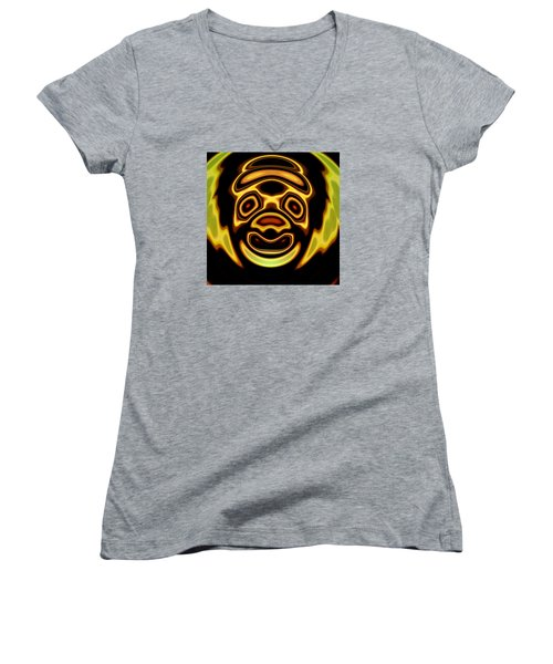 Women's V-Neck T-Shirt (Junior Cut) featuring the digital art Looming Sorrows by Mario Carini