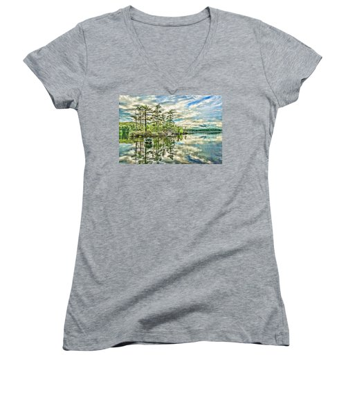 Loon Island Women's V-Neck T-Shirt (Junior Cut) by Daniel Hebard