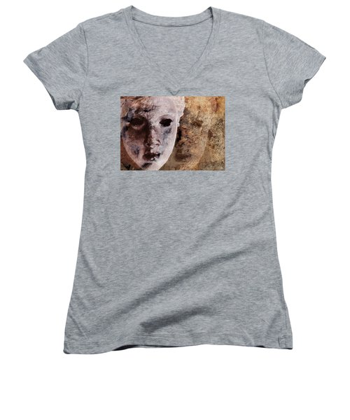 Women's V-Neck T-Shirt (Junior Cut) featuring the digital art Loosing The Real You Behind The Mask by Gun Legler