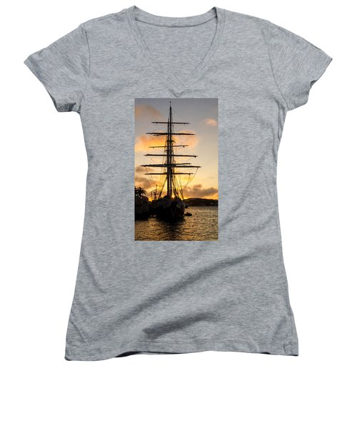 Lord Nelson Sunrise Women's V-Neck T-Shirt (Junior Cut) by Jeff at JSJ Photography