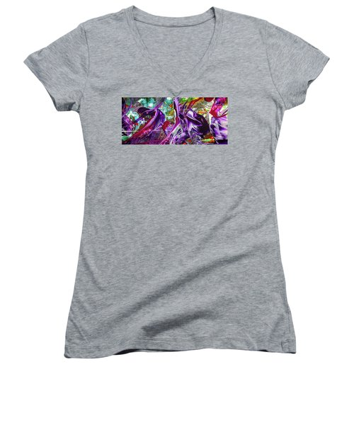 Lord Of The Rings Art - Colorful Modern Abstract Painting Women's V-Neck T-Shirt (Junior Cut) by Modern Art Prints