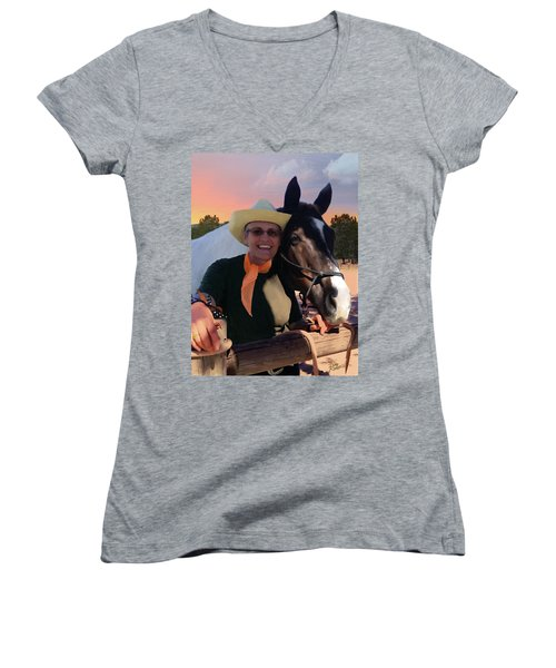 Women's V-Neck T-Shirt (Junior Cut) featuring the painting Lori And Paco by Doug Kreuger