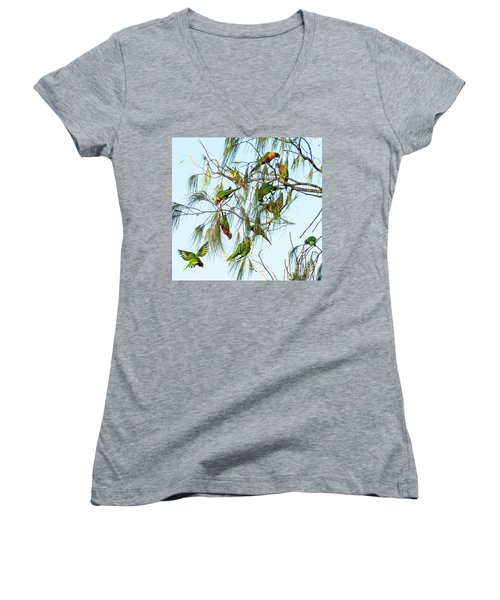 Lorikeets Swarming From Tree To Tree Women's V-Neck (Athletic Fit)