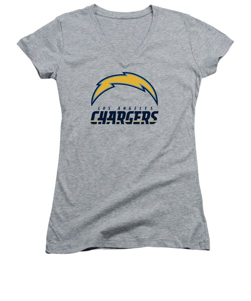 Los Angeles Chargers On An Abraded Steel Texture Women's V-Neck