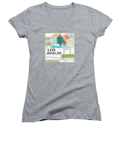 Los Angeles Cityscape- Art By Linda Woods Women's V-Neck T-Shirt (Junior Cut) by Linda Woods