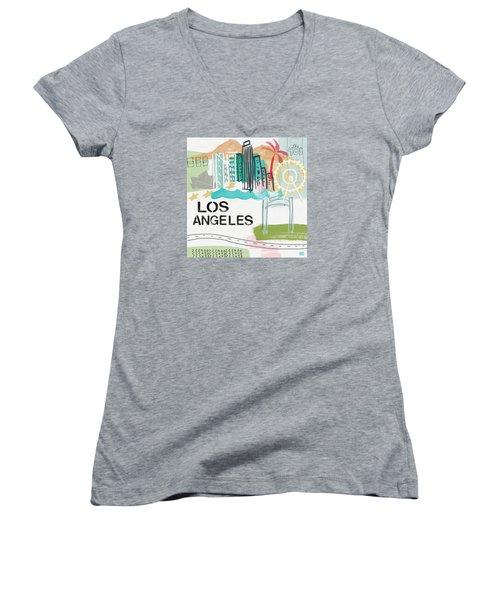 Los Angeles Cityscape- Art By Linda Woods Women's V-Neck T-Shirt