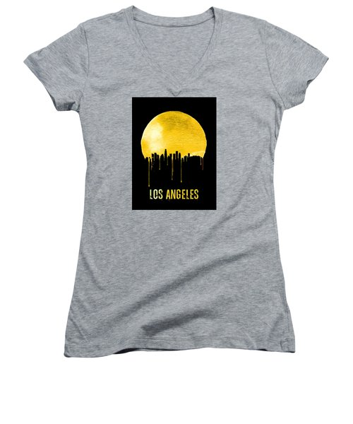 Los Angeles Skyline Yellow Women's V-Neck T-Shirt (Junior Cut) by Naxart Studio