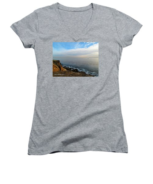 Women's V-Neck T-Shirt (Junior Cut) featuring the photograph Los Angeles Sunset by Joan  Minchak