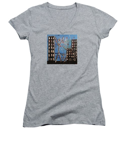 Women's V-Neck T-Shirt (Junior Cut) featuring the painting Lost Cities 13-003 by Mario Perron