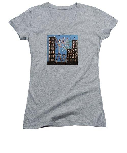 Lost Cities 13-003 Women's V-Neck T-Shirt (Junior Cut) by Mario Perron