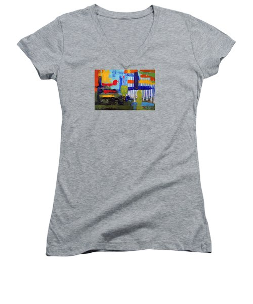 Lost In Forest Women's V-Neck T-Shirt (Junior Cut) by Haleh Mahbod