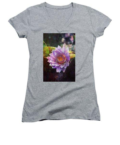 Lost Lavender Lotus Blossom 4725 Ldp_2 Women's V-Neck (Athletic Fit)