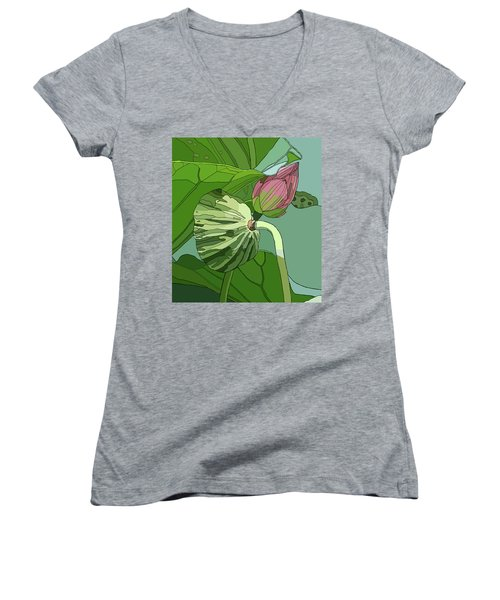 Lotus And Bud Women's V-Neck T-Shirt (Junior Cut) by Jamie Downs