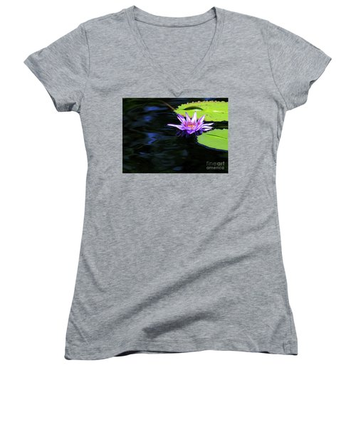 Lotus And Dark Water Refection Women's V-Neck