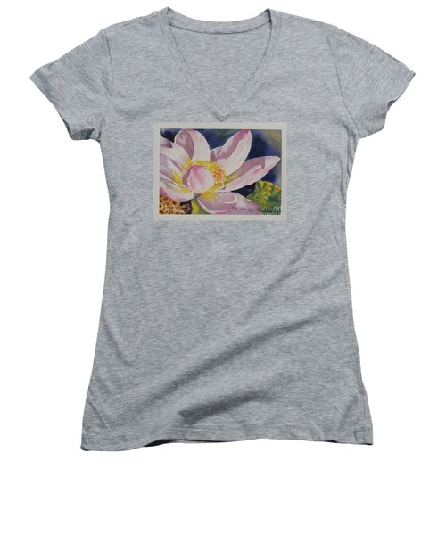 Women's V-Neck T-Shirt (Junior Cut) featuring the painting Lotus Bloom by Mary Haley-Rocks