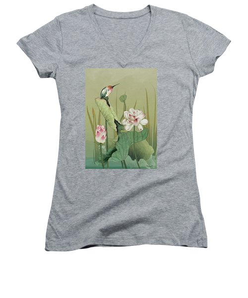 Lotus Flower And Hummingbird Women's V-Neck (Athletic Fit)