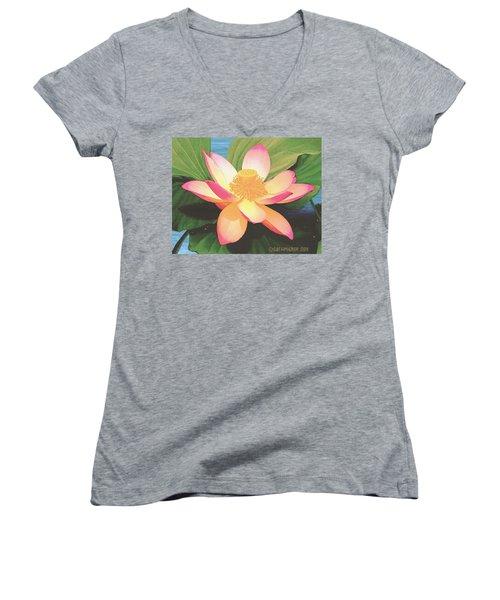 Women's V-Neck T-Shirt (Junior Cut) featuring the painting Lotus Flower by Sophia Schmierer