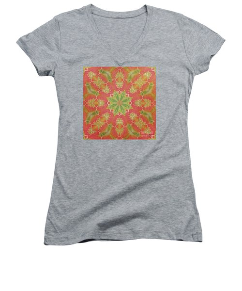 Lotus Garden Women's V-Neck T-Shirt (Junior Cut) by Mo T
