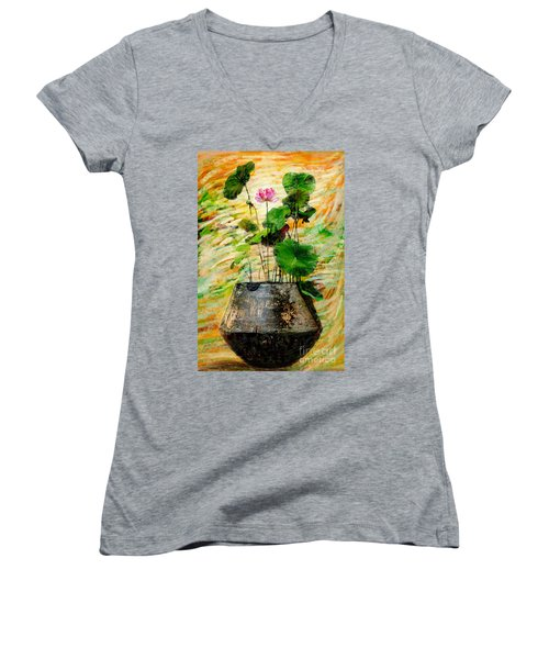 Lotus Tree In Big Jar Women's V-Neck (Athletic Fit)