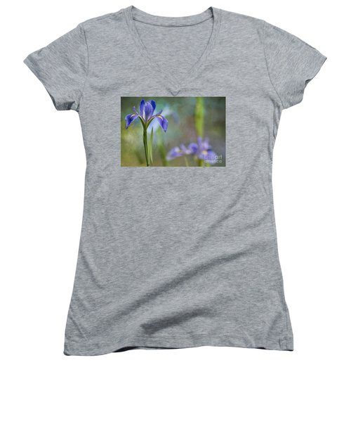 Women's V-Neck T-Shirt (Junior Cut) featuring the photograph Louisiana Iris by Bonnie Barry