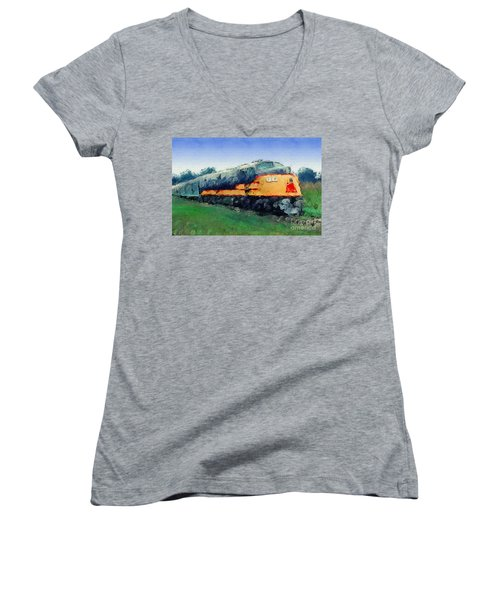 Louisville And Nashville E6a Diesel Locomotive Women's V-Neck T-Shirt (Junior Cut) by Wernher Krutein