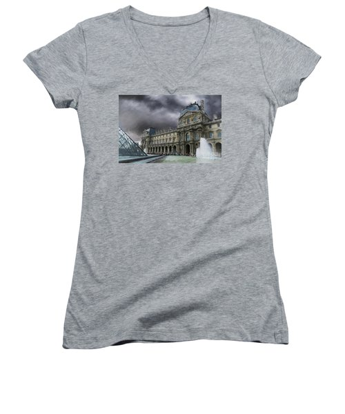 Women's V-Neck T-Shirt (Junior Cut) featuring the mixed media Louvre by Jim  Hatch