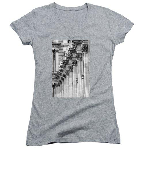 Women's V-Neck T-Shirt (Junior Cut) featuring the photograph Louvre Pillars, Paris, 2015 by Hitendra SINKAR