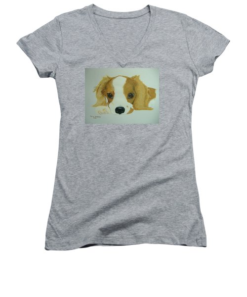 Women's V-Neck T-Shirt (Junior Cut) featuring the painting Lovable Puppy by Norm Starks