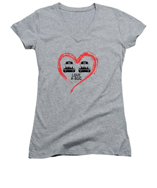 Love A Bug Women's V-Neck T-Shirt (Junior Cut) by Mark Rogan