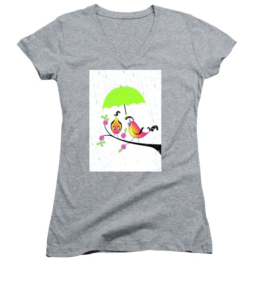 Love Birds In Rain Women's V-Neck (Athletic Fit)