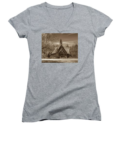 Love Chapel In Sepia Women's V-Neck (Athletic Fit)