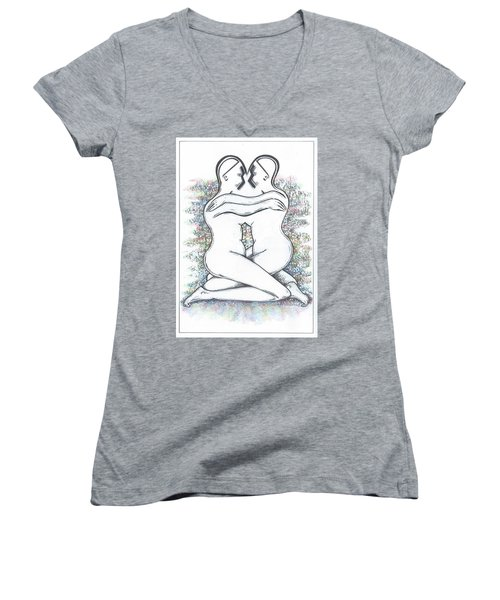 Friendly Hug On Colour Women's V-Neck (Athletic Fit)