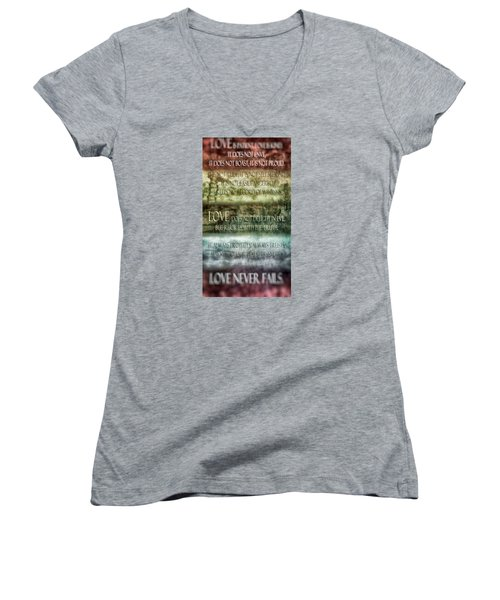 Women's V-Neck T-Shirt (Junior Cut) featuring the digital art Love Does Not Delight In Evil by Angelina Vick
